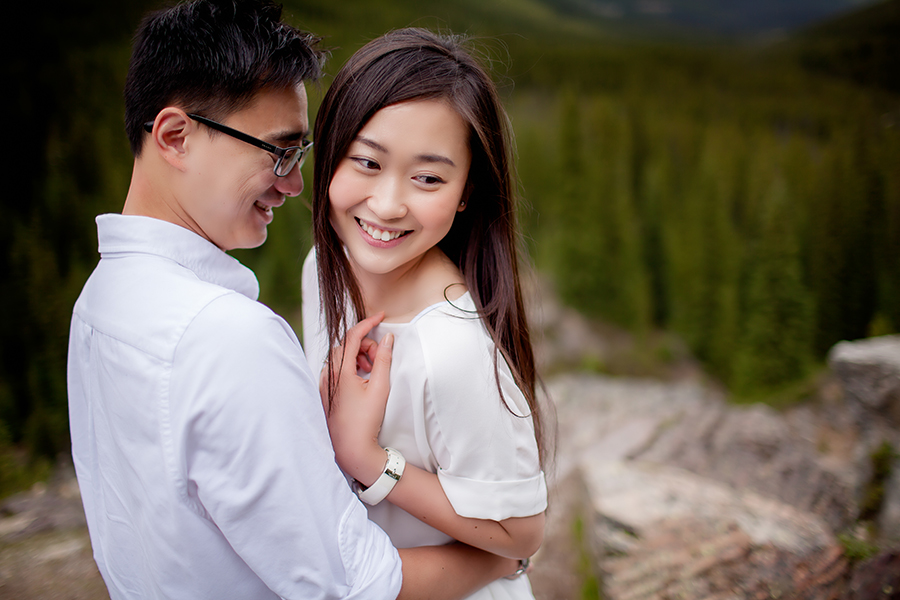 Mountain engagement photography in Lake Louise
