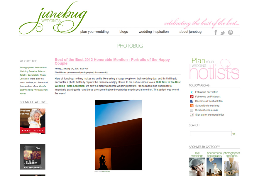 Junebug honourable mention 2012 :: Best of Wedding Photography around the world