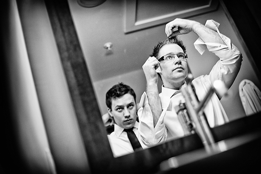 Chris getting ready :: Canmore Wedding Photography by infusedstudios.ca