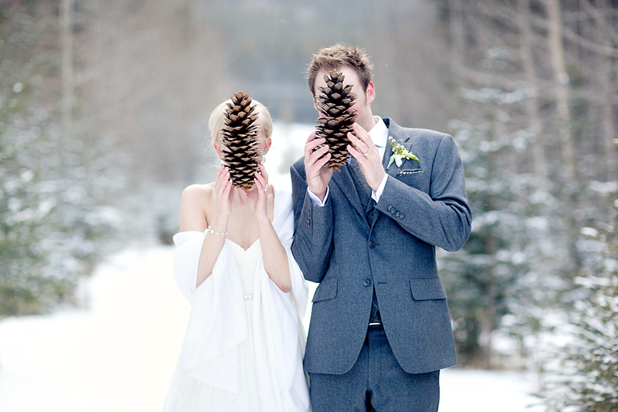 Giant acorns for a cute shot :: Canmore Wedding Photography by infusedstudios.ca