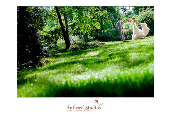 Bride and Groom portraits in green field