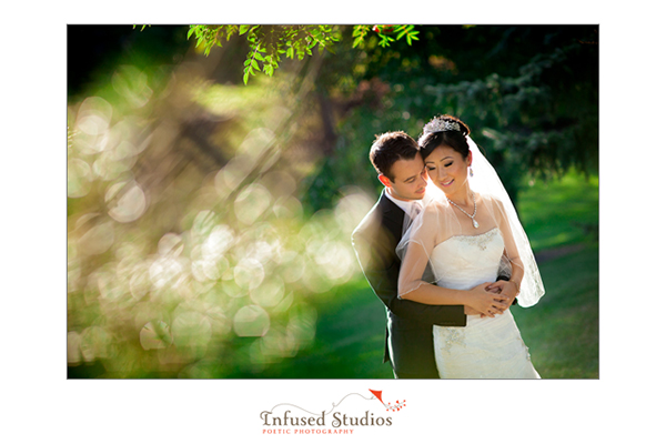 Bridal portraits outdoors with trees