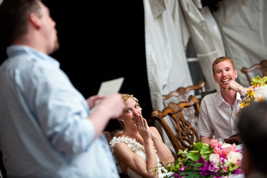 Listening to speeches :: Hawaii Wedding Photography by infusedstudios.ca