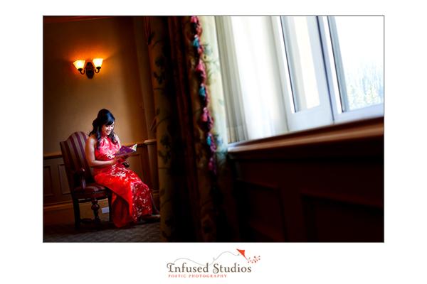 Chinese bride reading wedding card
