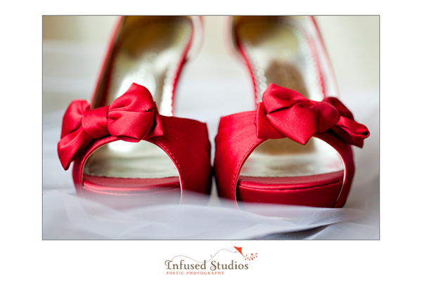 Red wedding shoes by New York Wedding Photographers