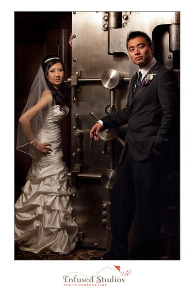 Bridal portrait with safe
