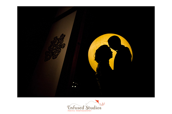 Super moon wedding silhouette photo
