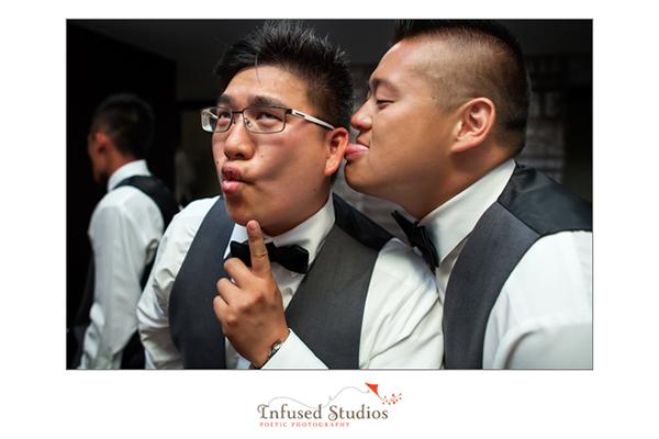 Groomsmen during reception