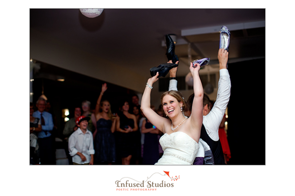 Shoe game during wedding reception