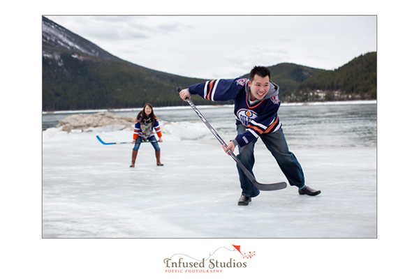 Oilers engagement photo