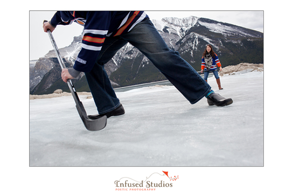Oilers inspired engagement photography