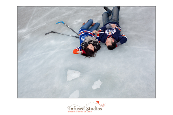 Ice hockey inspired engagement shoot