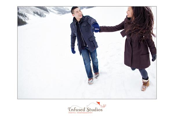 Walking on ice engagement photos