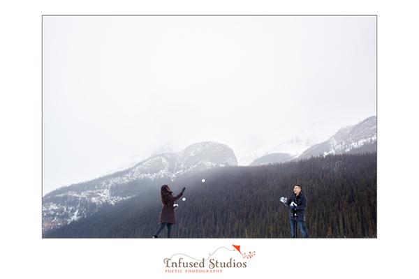 Winter in Lake Louise engagement photos