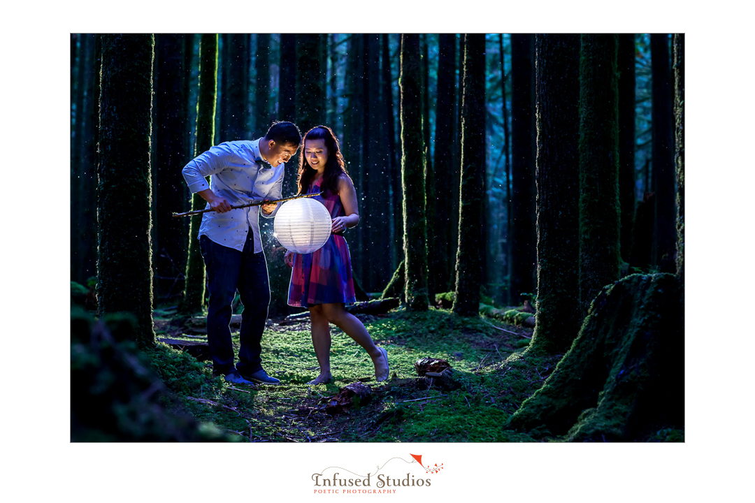 Creative forest engagement photography, Vancouver