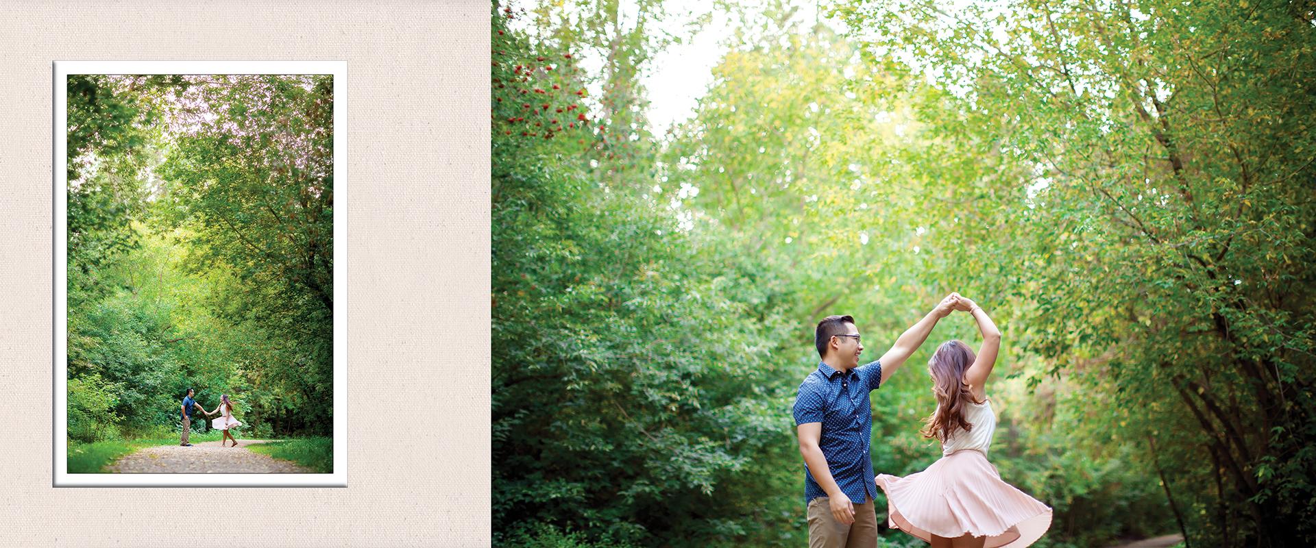 Seasons inspired engagement album :: Caitlyn + Jordan pages 7-8