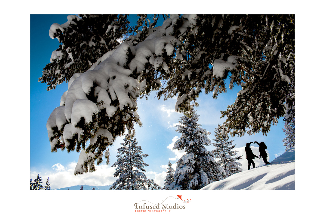 Snowy engagement photography in Jasper