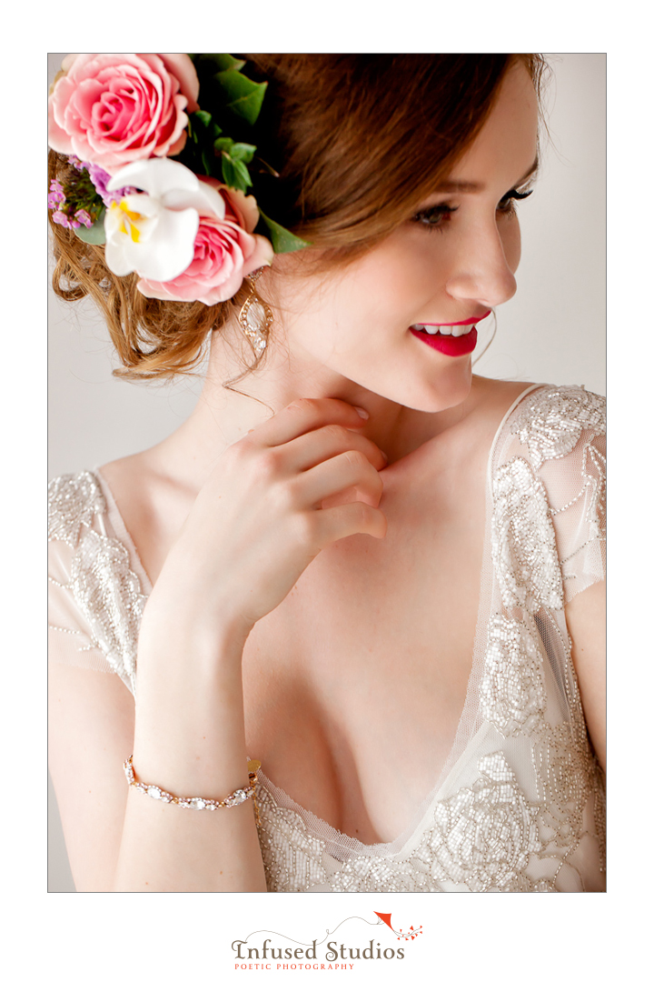 Paris inspired styled wedding shoot by Edmonton wedding photographers :: floral hair piece